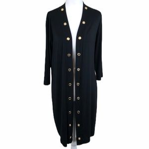 NWT Belldini Black Gold Grommet Duster Cardigan M